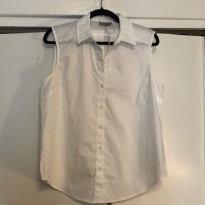 White sleeveless work blouse